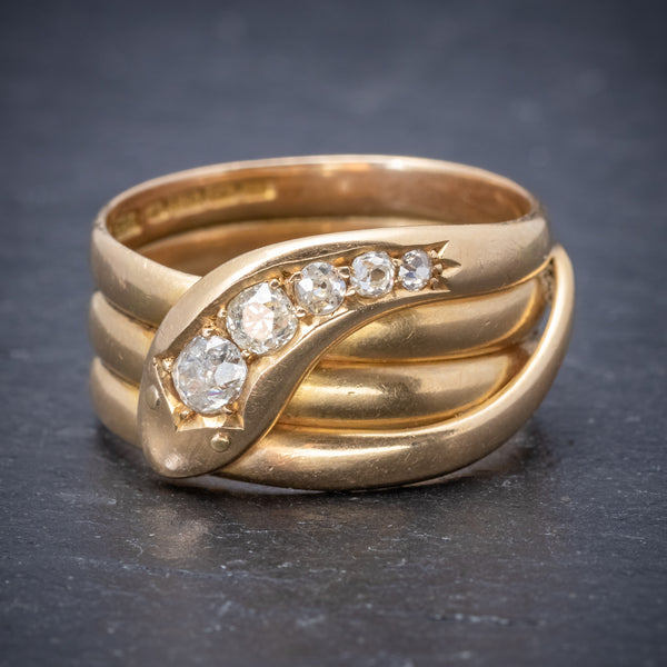 Antique Edwardian Diamond Snake Ring 18ct Gold Dated 1906 FRONT