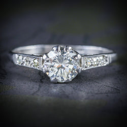 ANTIQUE EDWARDIAN DIAMOND SOLITAIRE ENGAGEMENT RING CIRCA 1910 PLATINUM COVER