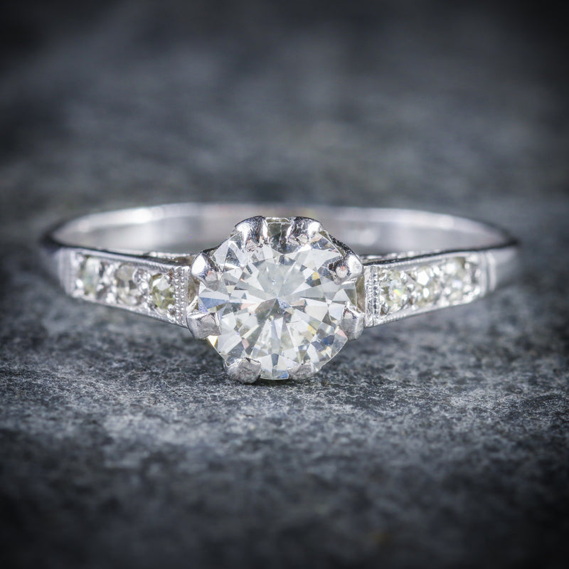 ANTIQUE EDWARDIAN DIAMOND SOLITAIRE ENGAGEMENT RING CIRCA 1910 PLATINUM FRONT