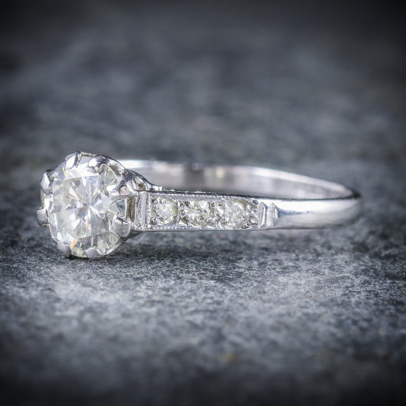ANTIQUE EDWARDIAN DIAMOND SOLITAIRE ENGAGEMENT RING CIRCA 1910 PLATINUM SIDE