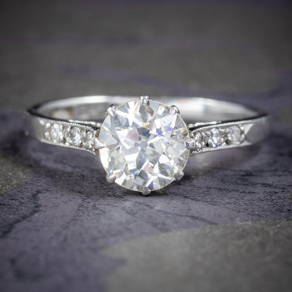 ANTIQUE EDWARDIAN DIAMOND SOLITAIRE RING PLATINUM ENGAGEMENT RING CIRCA 1910 COVER