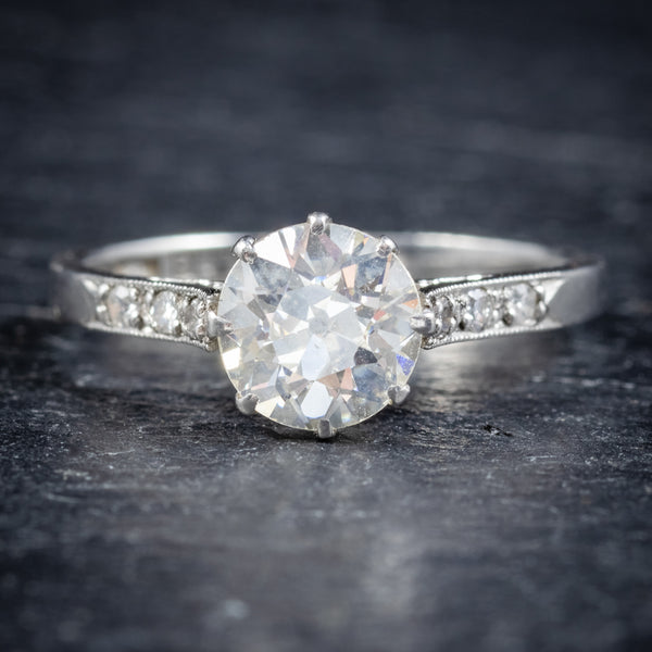ANTIQUE EDWARDIAN DIAMOND SOLITAIRE RING PLATINUM ENGAGEMENT RING CIRCA 1910 FRONT