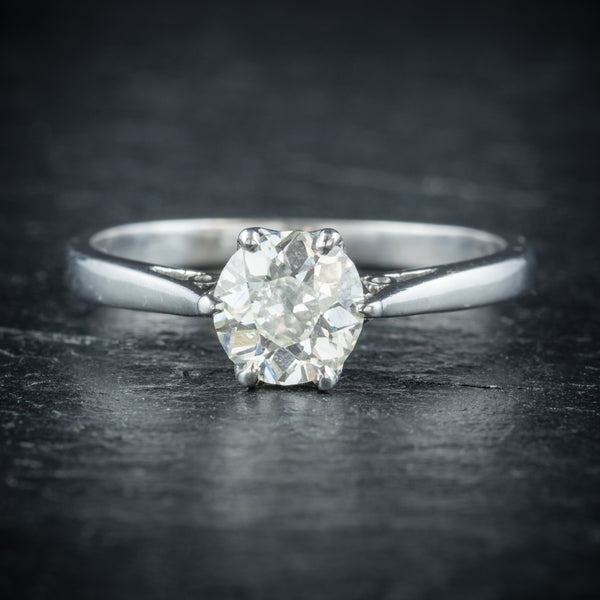 Antique Edwardian Diamond Engagement Ring Platinum Circa 1910 FRONT