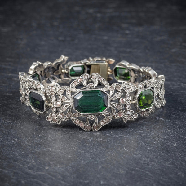 Antique Edwardian Green Tourmaline Diamond Bracelet Silver Circa 1910 FRONT