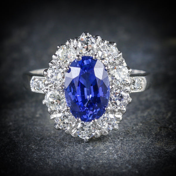 ANTIQUE EDWARDIAN NATURAL SAPPHIRE DIAMOND RING PLATINUM CIRCA 1910 FRONT