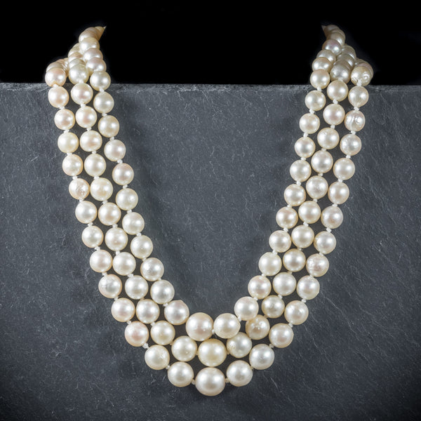Antique Edwardian Pearl Necklace Diamond Citrine Amethyst Circa 1910 FRONT