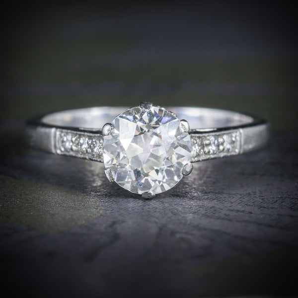 ANTIQUE EDWARDIAN PLATINUM 1.58CT SOLITAIRE DIAMOND RING CIRCA 1915 COVER