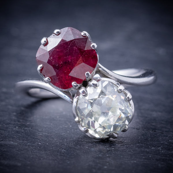 Antique Edwardian Ruby Diamond Twist Ring Platinum Circa 1915 FRONT