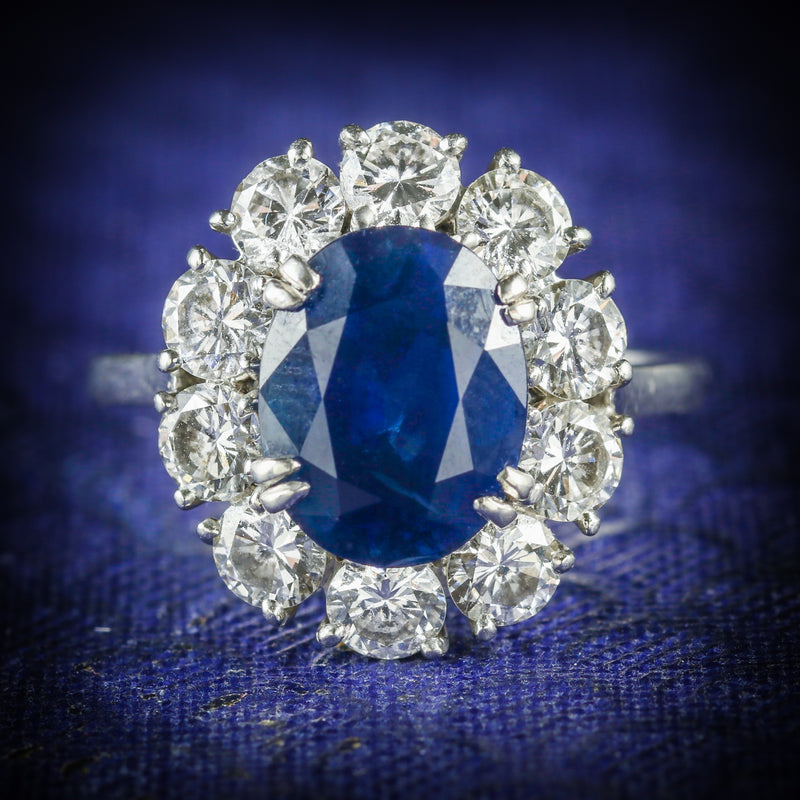 ANTIQUE EDWARDIAN SAPPHIRE DIAMOND RING FRENCH ENGAGEMENT 3CT NATURAL SAPPHIRE COVER