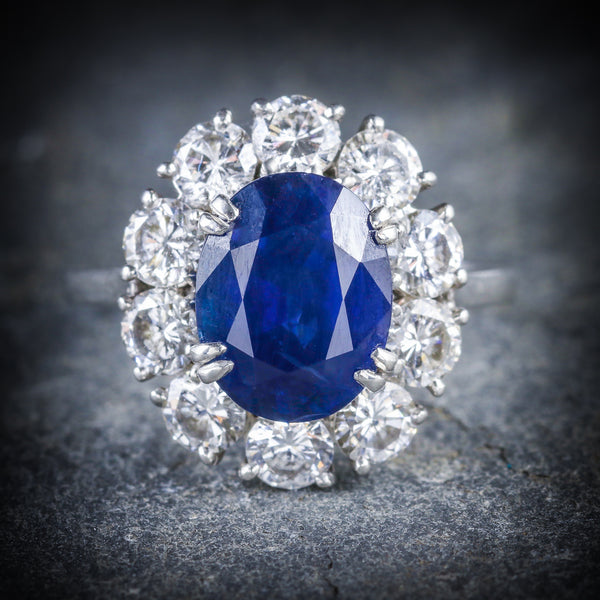 ANTIQUE EDWARDIAN SAPPHIRE DIAMOND RING FRENCH ENGAGEMENT 3CT NATURAL SAPPHIRE FRONT