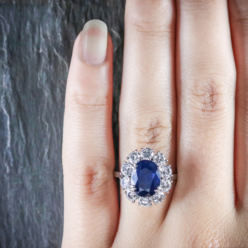 Antique Edwardian French Sapphire Diamond Ring Circa 1910