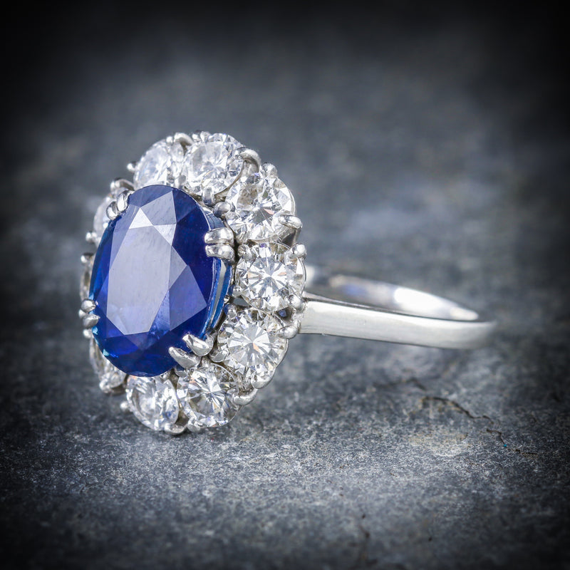 ANTIQUE EDWARDIAN SAPPHIRE DIAMOND RING FRENCH ENGAGEMENT 3CT NATURAL SAPPHIRE SIDE