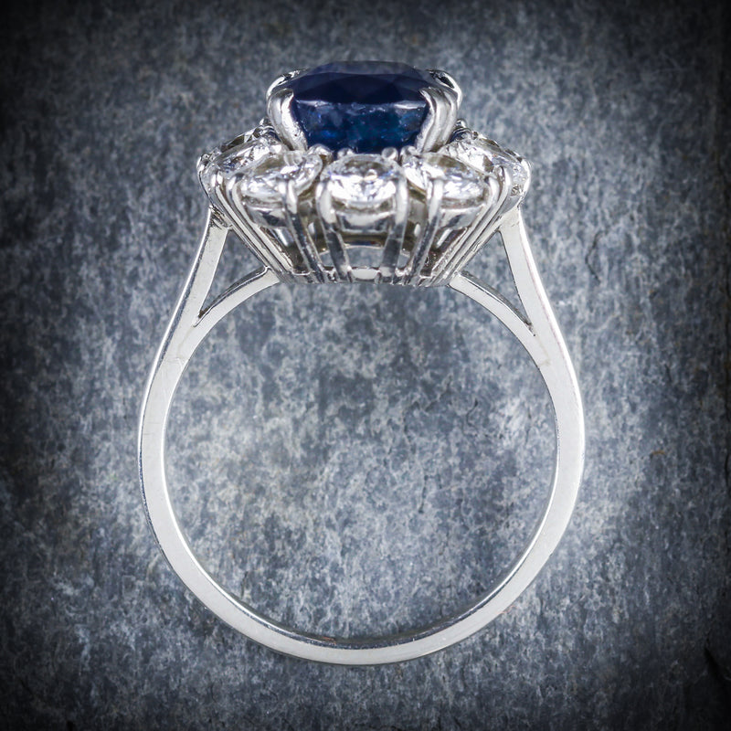 ANTIQUE EDWARDIAN SAPPHIRE DIAMOND RING FRENCH ENGAGEMENT 3CT NATURAL SAPPHIRE TOP