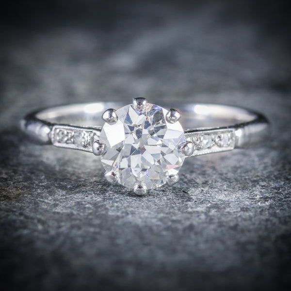 ANTIQUE PLATINUM EDWARDIAN DIAMOND ENGAGEMENT RING 1.48CT FRONT