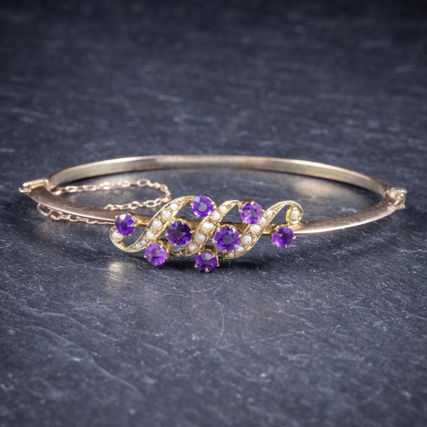 Antique Victorian Amethyst Pearl Bangle 9ct Gold Circa 1900 FRONT