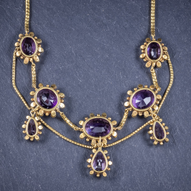 Antique Victorian Amethyst Pearl Garland Necklace 18ct Gold Circa 1860 BACK