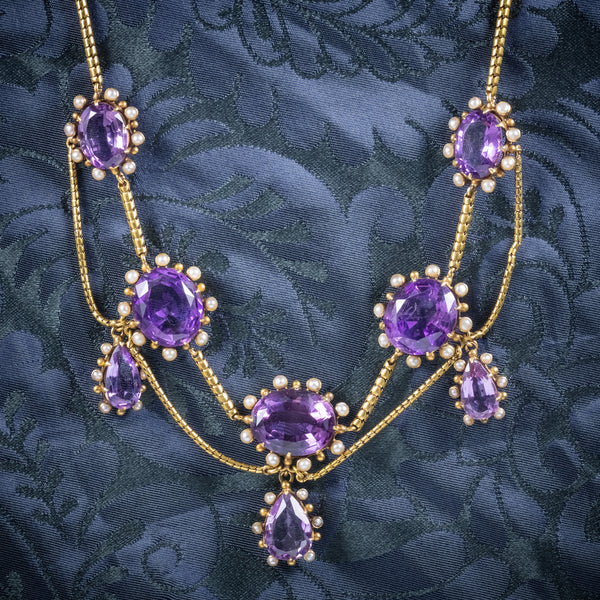 Antique Victorian Amethyst Pearl Garland Necklace 18ct Gold Circa 1860 COVER