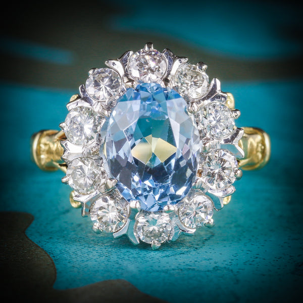 ANTIQUE VICTORIAN AQUAMARINE CLUSTER RING DIAMOND 18CT GOLD CIRCA 1900 COVER