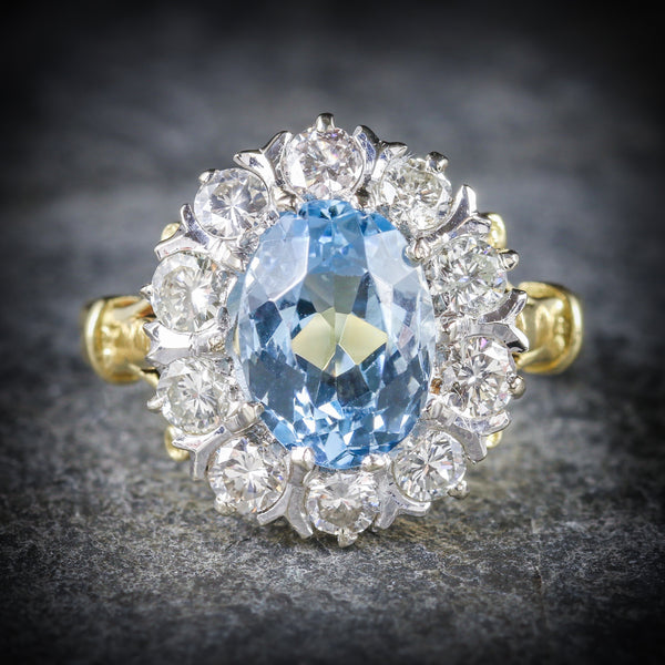 ANTIQUE VICTORIAN AQUAMARINE CLUSTER RING DIAMOND 18CT GOLD CIRCA 1900 FRONT