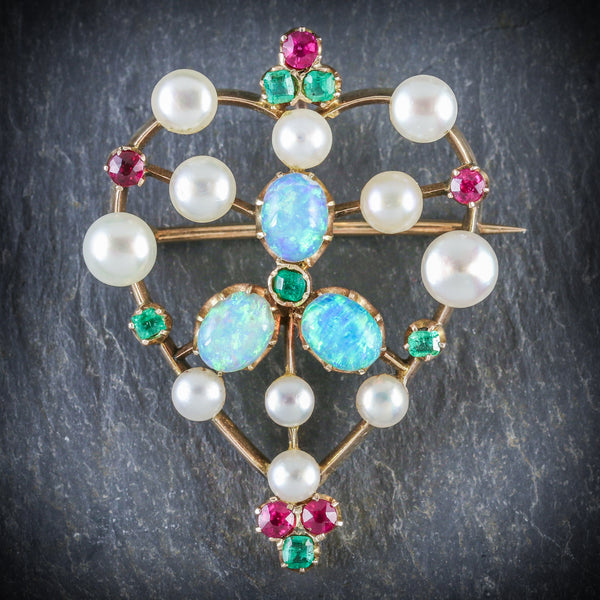 ANTIQUE VICTORIAN BROOCH EMERALD RUBY PEARL OPAL 18CT GOLD CIRCA 1900 FRONT