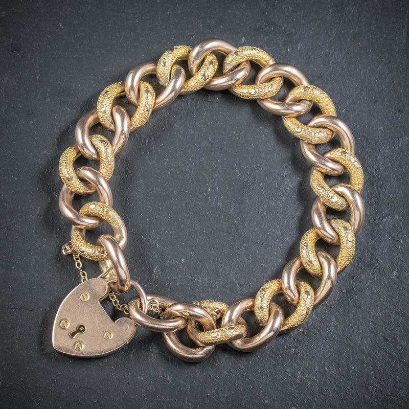 Antique Victorian Curb Bracelet 9ct Gold Heart Padlock Circa 1900 front