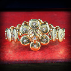 ANTIQUE VICTORIAN DIAMOND LION BRACELET 18CT GOLD CIRCA 1860 COVER