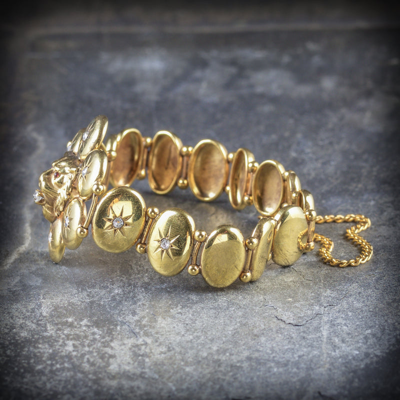 ANTIQUE VICTORIAN DIAMOND LION BRACELET 18CT GOLD CIRCA 1860 SIDE