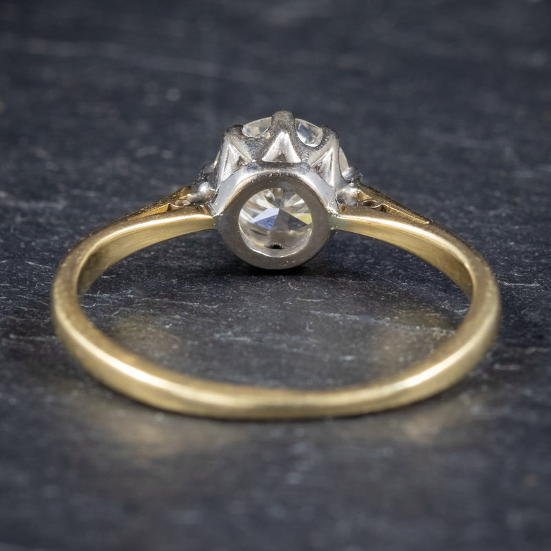 Antique Victorian Diamond Solitaire Engagement Ring 18ct Gold Circa 1900 back