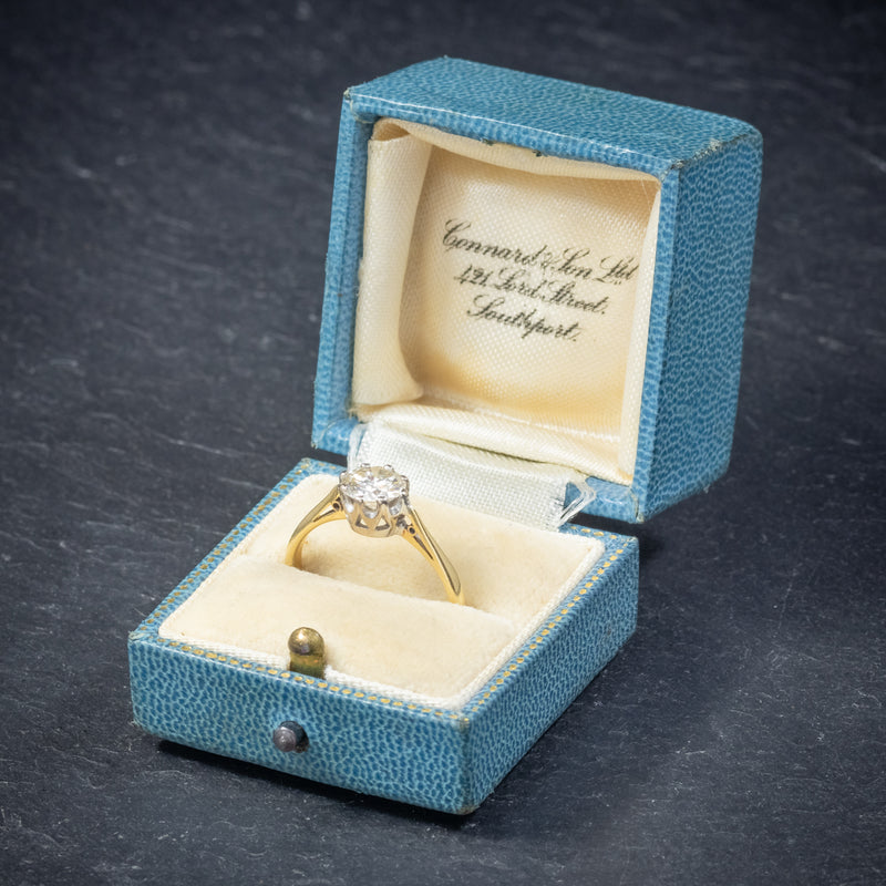 Antique Victorian Diamond Solitaire Engagement Ring 18ct Gold Circa 1900 box