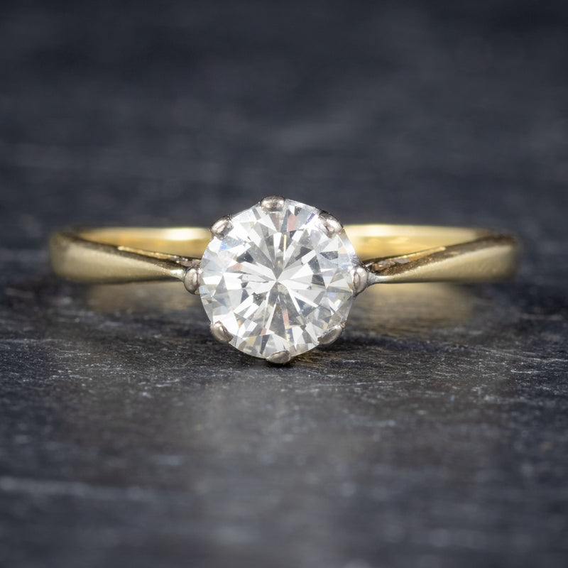 Antique Victorian Diamond Solitaire Engagement Ring 18ct Gold Circa 1900 front