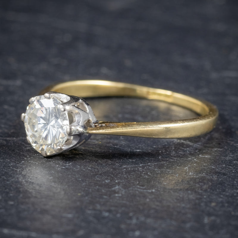 Antique Victorian Diamond Solitaire Engagement Ring 18ct Gold Circa 1900 side