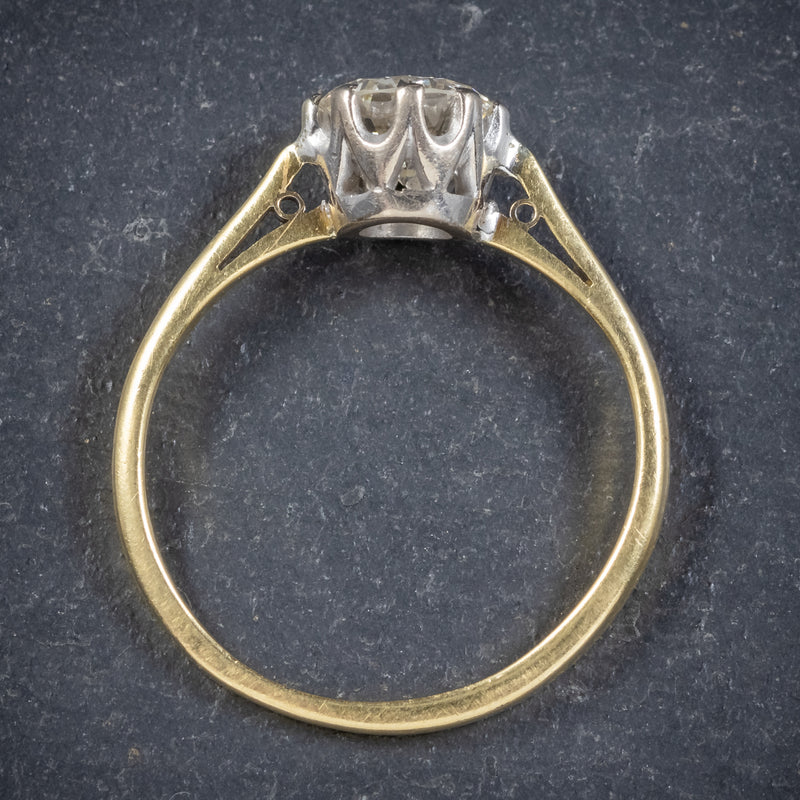 Antique Victorian Diamond Solitaire Engagement Ring 18ct Gold Circa 1900 top