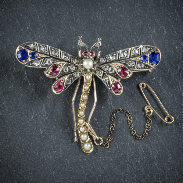 Antique Victorian Dragonfly Brooch Diamond Sapphire Ruby Pearl Circa 1900 front