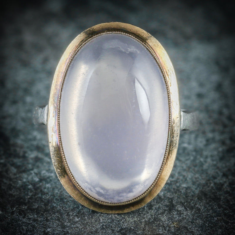 ANTIQUE VICTORIAN MOONSTONE GOLD RING CIRCA 1900 FRONT