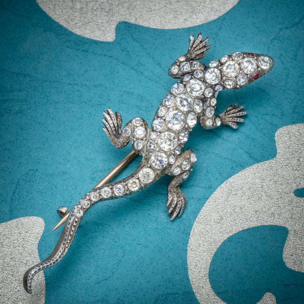 Antique Victorian Paste Stone Lizard Brooch Silver Circa 1900 COVER