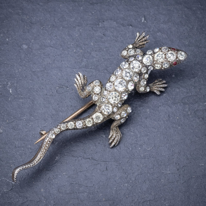 Antique Victorian Paste Stone Lizard Brooch Silver Circa 1900 FRONT