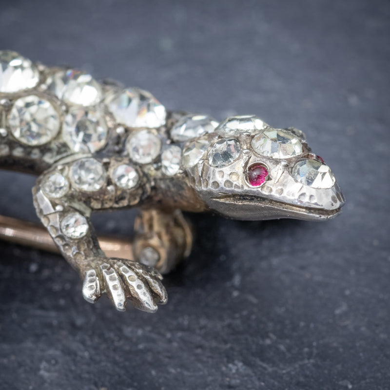 Antique Victorian Paste Stone Lizard Brooch Silver Circa 1900 HEAD