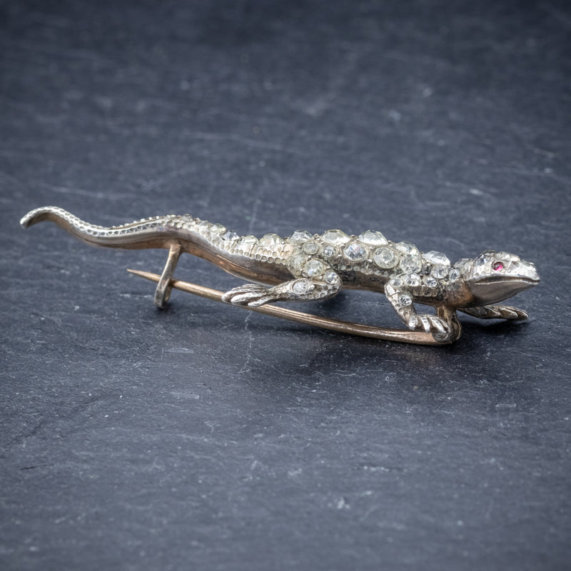Antique Victorian Paste Stone Lizard Brooch Silver Circa 1900 SIDE