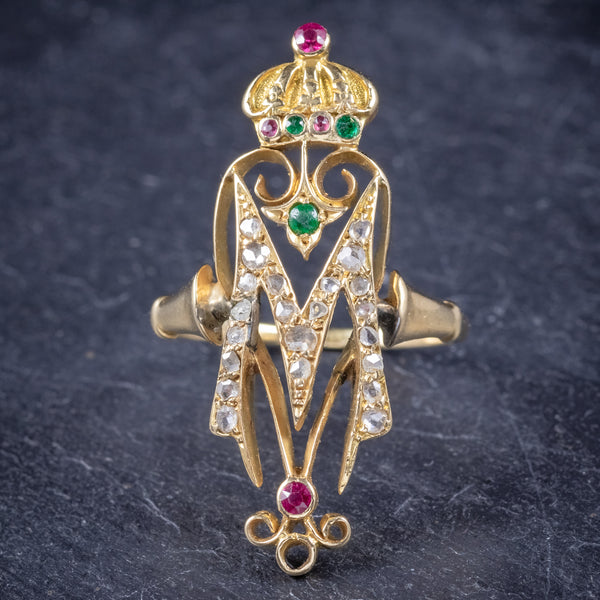 Antique Victorian Ruby Emerald Diamond Ring Initial M Ring Circa 1900 front