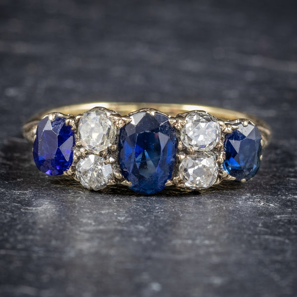 Antique Victorian Sapphire Diamond Five Stone Ring 18ct Gold Circa 1900 FRONT