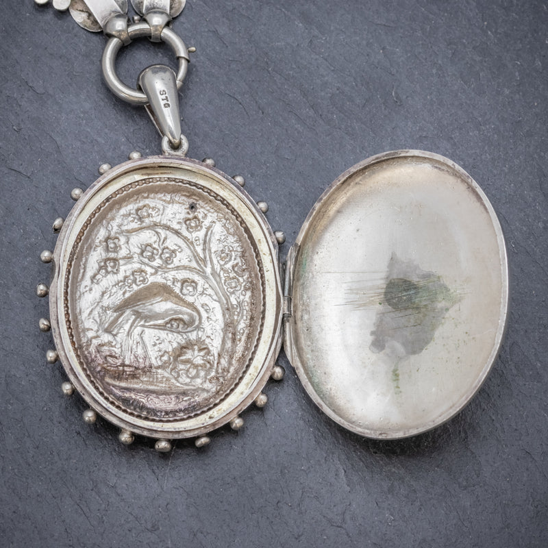 Antique Victorian Stork Locket Collar Sterling Silver Necklace Circa 1900 OPEN