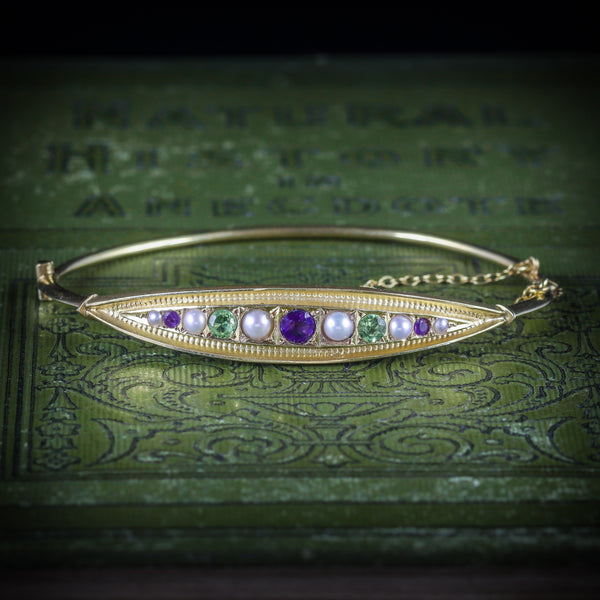 ANTIQUE VICTORIAN SUFFRAGETTE BANGLE AMETHYST PEARL PERIDOT COVER