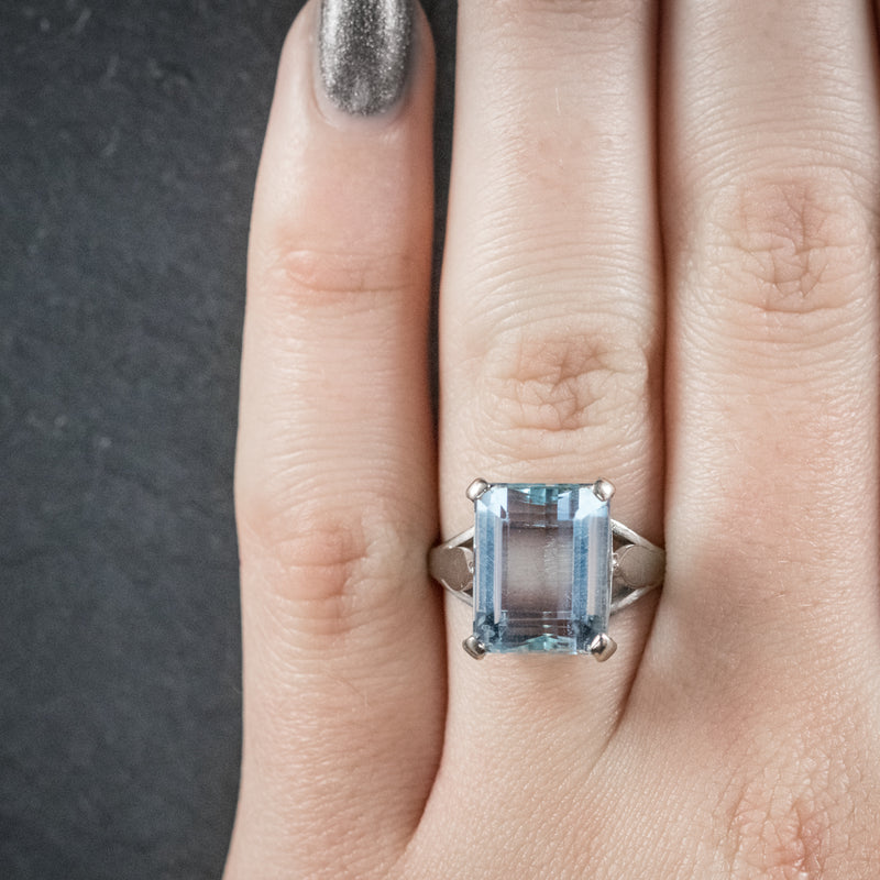 Art Deco Aquamarine Ring 18ct White Gold Circa 1930 HAND