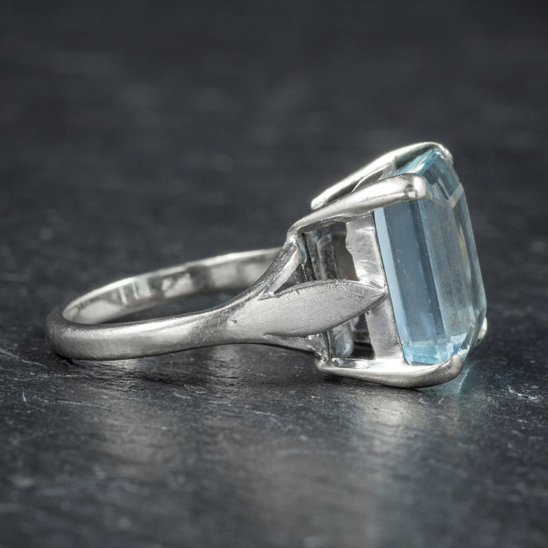 Art Deco Aquamarine Ring 18ct White Gold Circa 1930 SIDE2