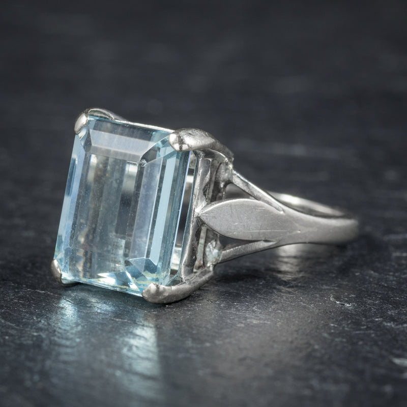 Art Deco Aquamarine Ring 18ct White Gold Circa 1930 SIDE
