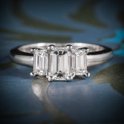 ART DECO DIAMOND TRILOGY RING 14CT WHITE GOLD 1.01CT VVS1 COVER