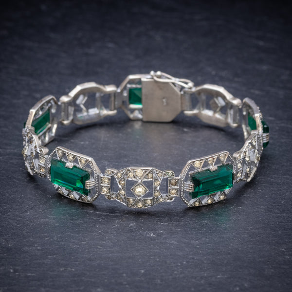 Art Deco Green Paste Stone Bracelet Sterling Silver Circa 1920 FRONT