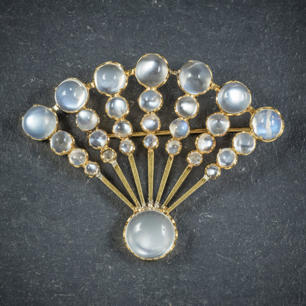 Art Deco Moonstone Fan Brooch 9ct Gold Circa 1920 FRONT