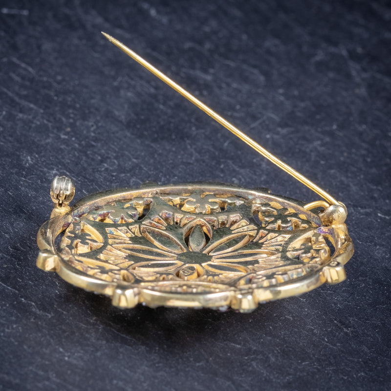 Art Deco Paste Stone Brooch 18ct Gold On Silver Circa 1930 pin