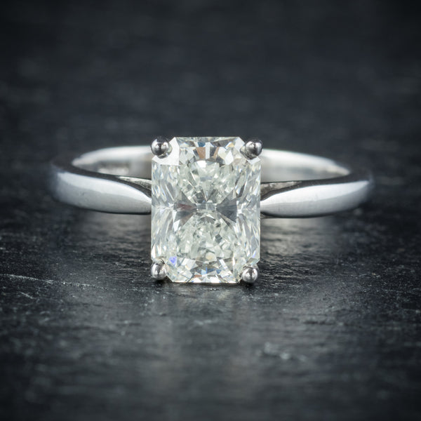 Art Deco Princess Cut Diamond Ring 18ct White Gold Circa 1930 FRONT